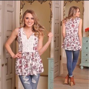 Floral & Ivory Crochet Sleeveless Tunic